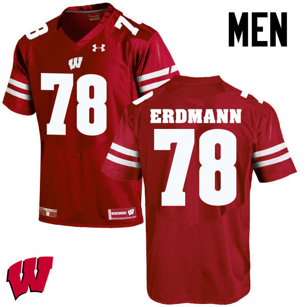 Men Wisconsin Badgers #78 Jason Erdmann College Football Jerseys-Red
